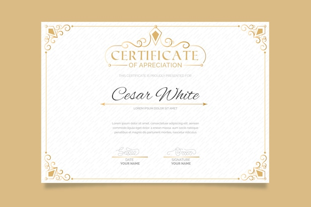 Elegant template certificate with frame