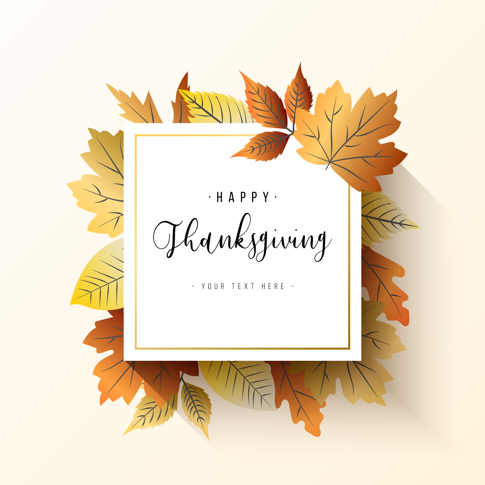 Elegant Thanksgiving frame with leaves