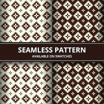 Elegant traditional indonesia batik seamless pattern background wallpaper in brown classic style set