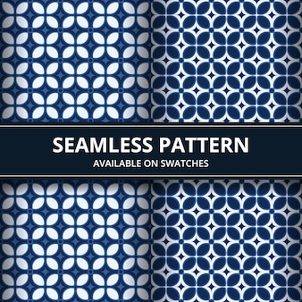 Elegant traditional indonesia batik seamless pattern background wallpaper in classic blue color set