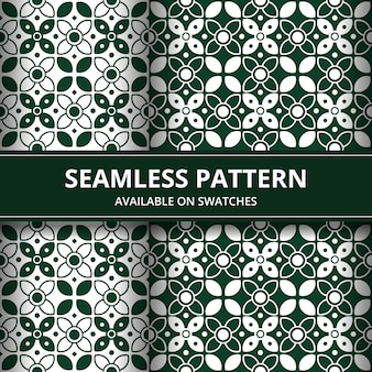Elegant traditional indonesia batik seamless pattern background wallpaper in green classic style set
