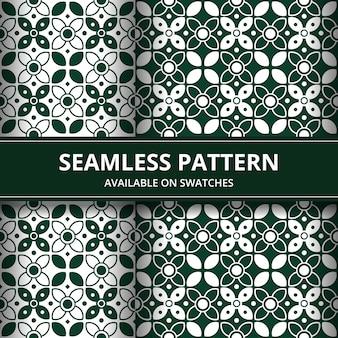 녹색 고전적인 스타일의 우아한 전통적인 인도네시아 바틱 원활한 패턴 배경 벽지 세트