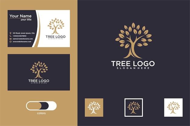 Элегантный дизайн логотипа дерева и визитная карточка Premium векторы