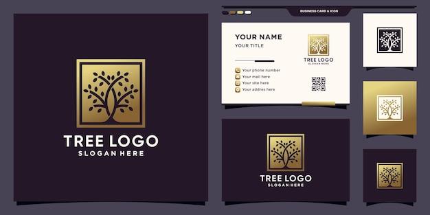 Элегантный логотип дерева с золотым градиентным стилем и дизайном визитной карточки premium векторы
