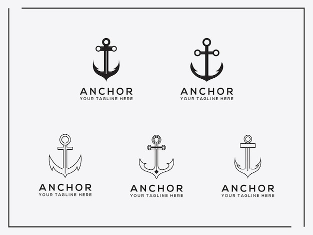 Elegant trendy artistic logo icon set anchor logo design