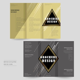 Elegant tri-fold brochure template design with triangle and rhombus elements