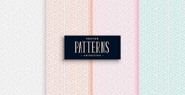Elegant triangle shapes pattern set in four colors