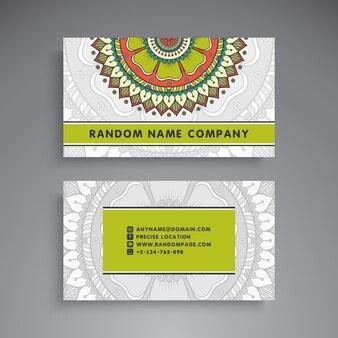 Elegant tribal business card with mandala decoration