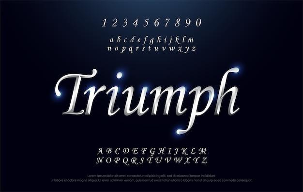 Elegant triumph silver colored metal chrome alphabet font