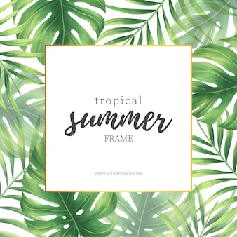 Elegant tropical summer frame