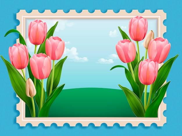 Elegant tulip bed, elegant floral scenery stamp in  illustration  on blue background