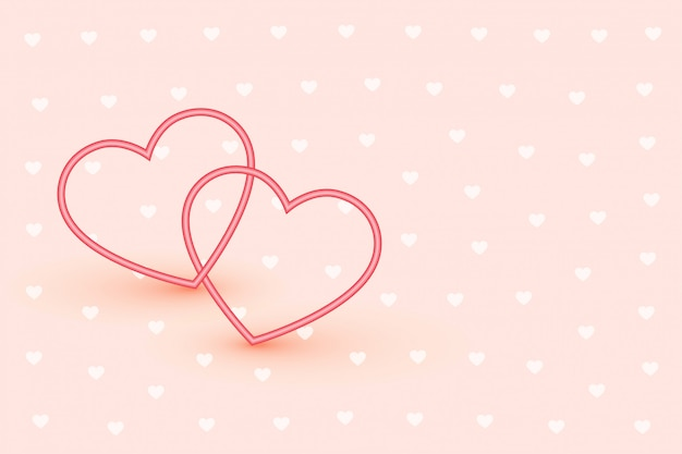Elegant two line hearts on soft pink background