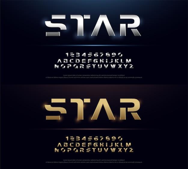Elegant typography silver and golden metal alphabet font