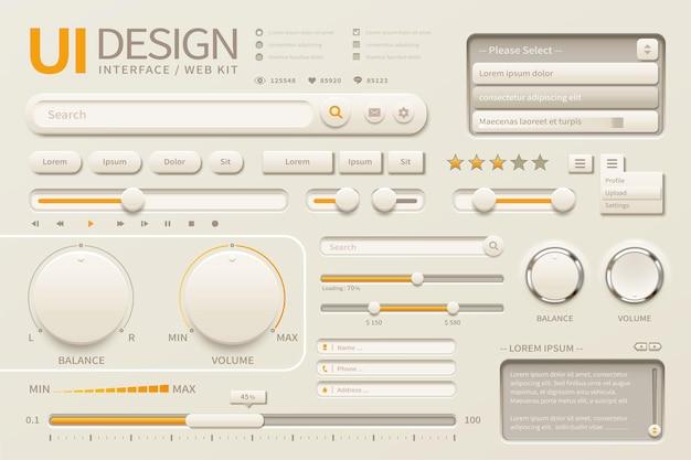 Элегантный дизайн пользовательского интерфейса с различными кнопками в бежевых и хромово-желтых тонах, 3d иллюстрация