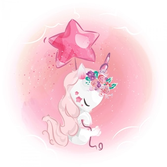 Elegant unicorn with a star balloon in the sky.