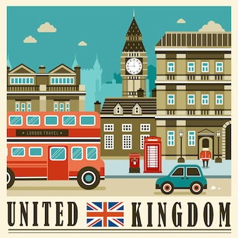Elegant united kingdom street scene in flat style