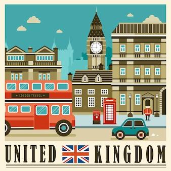 Элегантная уличная сцена соединенного королевства в плоском стиле