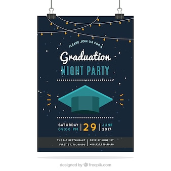 Elegant university party brochure with mortarboard