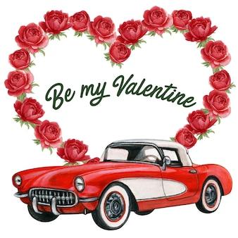 牡丹のハートの花輪とヴィンテージの赤い車とエレガントなバレンタインフレーム