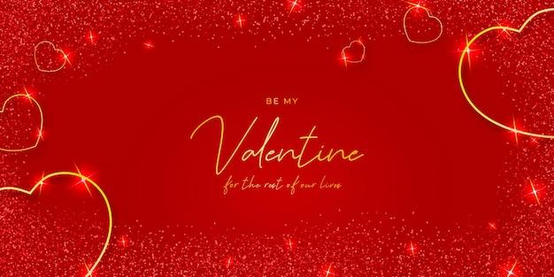 Элегантный день святого валентина с золотыми сердечками