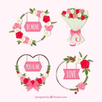 우아한 발렌타인 화 환 및 꽃다발 컬렉션