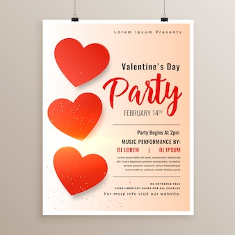 Elegant valentines day flyer poster design template