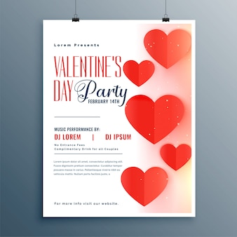 Elegant valentines day party flyer template design