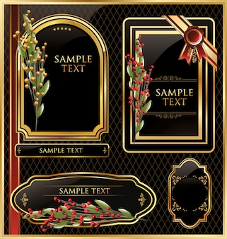 Elegant vector black gold frame label