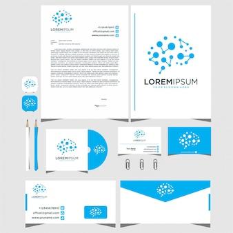 Элегантный векторный дизайн логотипа связь с мозгом
