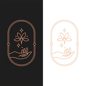 Elegant vector lotus hend oval logo template in two color variations. art deco style logotype design for luxury company branding. premium identity design.
