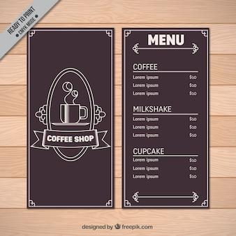 Elegant vintage cafe menu