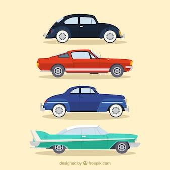 Элегантный набор старинных автомобилей в плоской конструкции