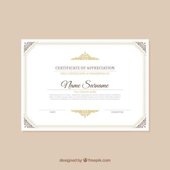 Elegante certificato vintage
