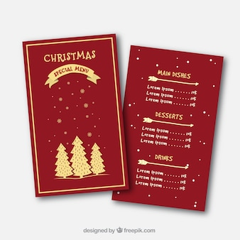 Elegant vintage christmas menu