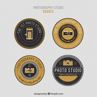 Elegant vintage circular photography badges