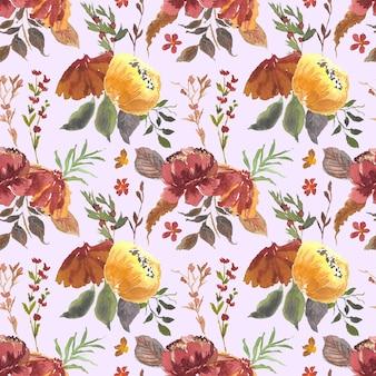 우아한 빈티지 꽃 수채화 원활한 패턴 배경