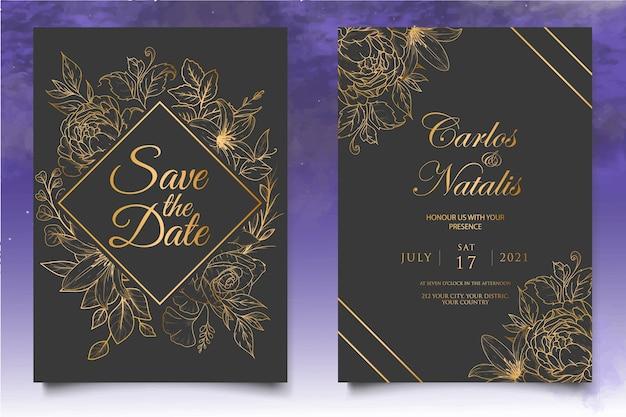 エレガントなヴィンテージの花の結婚式の招待状のテンプレート