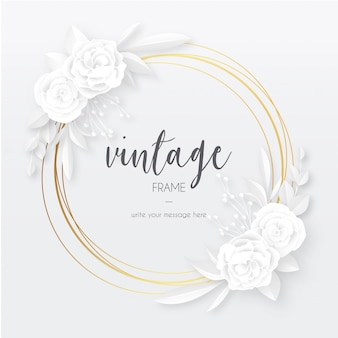 Elegant vintage frame with white papercut flowers