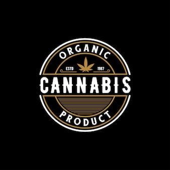 Elegant vintage retro badge label emblem cannabis logo design vector