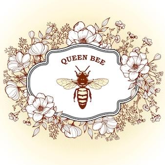 女王蜂と花のエレガントなヴィンテージビクトリア朝のハーブ薬剤師ラベル