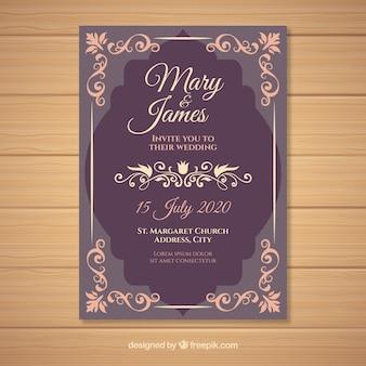 Elegant vintage wedding invitation template