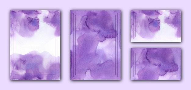 Элегантный фиолетовый акварельный шаблон свадебной открытки