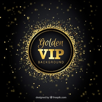 Elegant vip background with golden bokeh effect