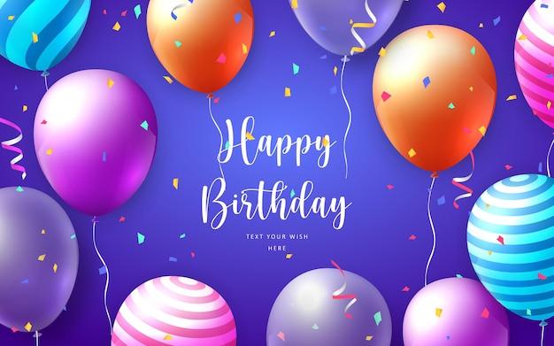 Elegant vivid vibrant colorful ballon and party popper ribbon happy birthday celebration card banner template
