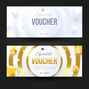 Elegant voucher white and gold design template.