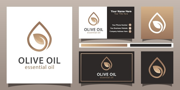 Elegant water drop and olive oil logo design with business card template