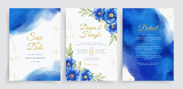 エレガントな水彩とネイビーの花のウェディングカードテンプレート