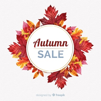 Elegant watercolor autumn sale composition