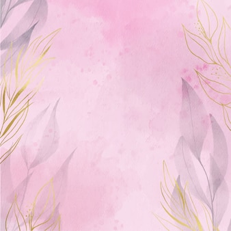 Elegant watercolor background with golden foil leaves for greeting and invitation card design.