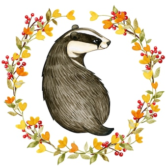 Elegant watercolor badger in a floral and berry wreath